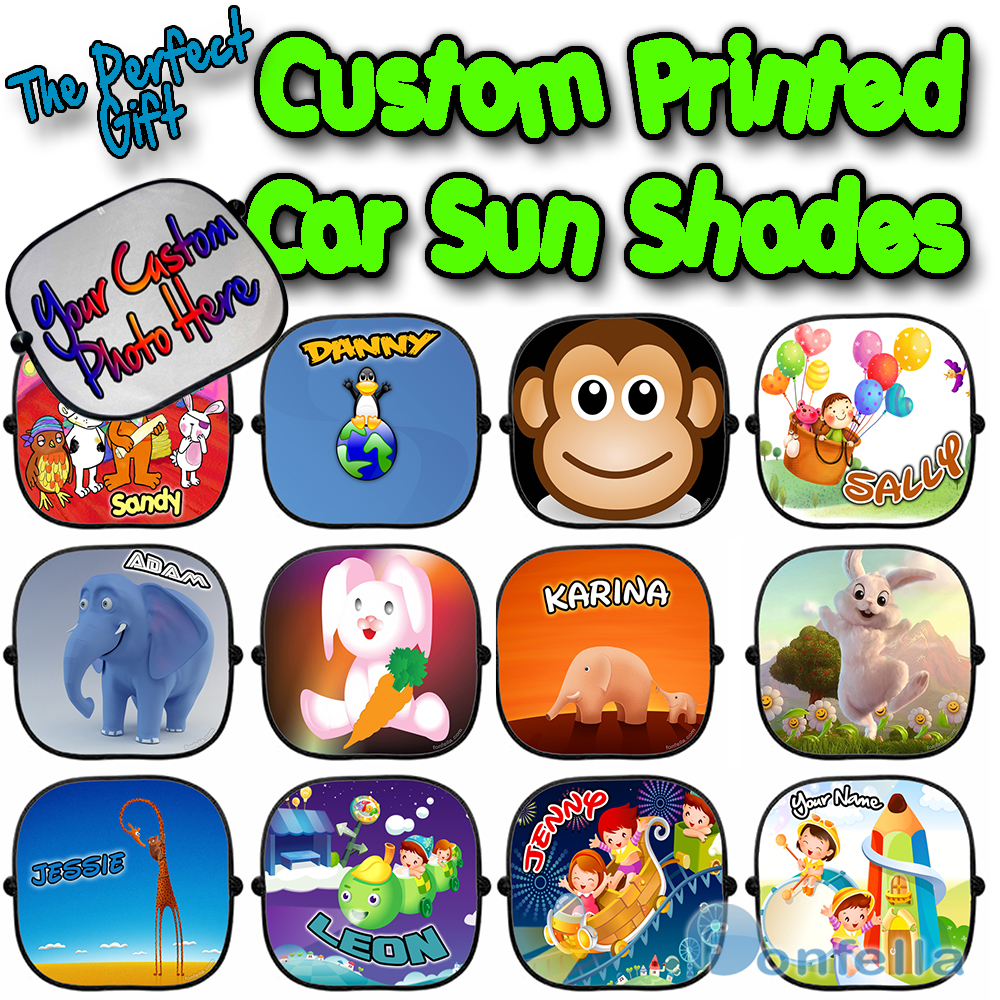 new personalised children baby car sun shade window kid screen full colour x 1